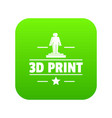 process 3d printing icon green vector image vector image