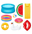 realistic inflatable pools accessories set vector image