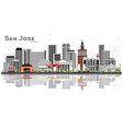 san jose california skyline with gray buildings vector image vector image