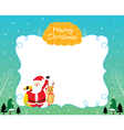 Santa And Reindeer On Border vector image vector image