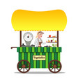 seller of vegetables on the market vector image vector image