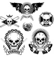 set emblems with skulls vector image vector image