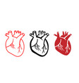 set human heart icons in linear style vector image vector image