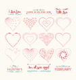 set of valentine hearts for design vector image vector image