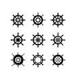 set ship wheel logo template design vector image