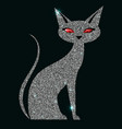 silver cat with red eyes vector image vector image