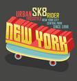skateboarding new york t-shirt graphic design vector image