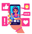 social media app girl makes selfie vector image