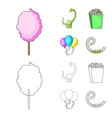 sweet cotton wool on a stick a toy dragon vector image vector image