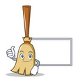 thumbs up with board broom character cartoon style vector image vector image