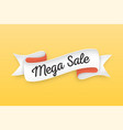 trendy retro ribbon with text mega sale colorful vector image