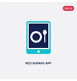 two color restaurant app icon from computer vector image vector image