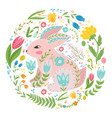 with rabbit and flowers in a vector image vector image