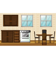 Wooden furniture and windows vector image vector image