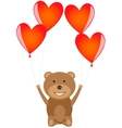 Bear with red heart balloons vector image
