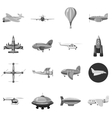 Aircraft icons set gray monochrome style vector image vector image