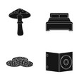 amanita bed and other web icon in black style vector image vector image