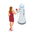 artificial intelligence a robot gives a woman a vector image vector image