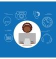 avatar afroamerican girl contact us information vector image