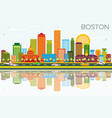 boston skyline with color buildings blue sky and vector image vector image
