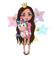 cartoon girl princess in a pink dress with unicorn vector image