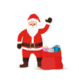 cartoon santa claus bag sack of gifts vector image vector image