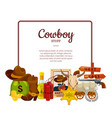 cartoon wild west elements with place for vector image vector image