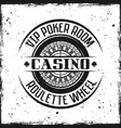 casino round badge with roulette wheel vector image vector image