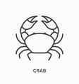crab flat line icon outline vector image