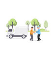 creative of garbage truck and worker vector image vector image