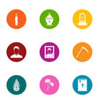 death border icons set flat style vector image vector image