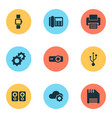 device icons set with usb telephone floppy disk vector image vector image
