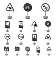 different types of road signs monochrome icons in vector image vector image