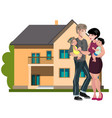 family standing outside new home vector image vector image