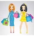 Fashion Girls With Shopping Bags vector image vector image