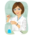 Female researcher mixes solutions in test tubes vector image