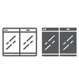 folding smartphone line and glyph icon gadget and vector image vector image