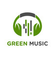green headset music logo design vector image vector image