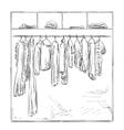 Hand drawn wardrobe Clothes sketch vector image vector image