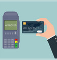hand holding credit card near pos terminal vector image