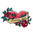heart entwined in climbing rose tattoo old school vector image