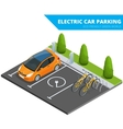 Isometric Electric car parking electronic car vector image vector image