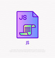 js file format thin line icon modern vector image vector image