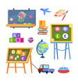 kids toys and desks isolated on white vector image