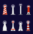 lighthouse buildings cartoon icons set flat vector image vector image