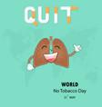 lung cute cartoon character and stop smoking vector image