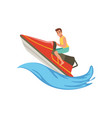 man on a red water bike jumping over waves vector image