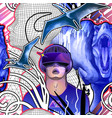 man wearing vr glasses among dinosaurs mesh vector image