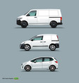 mocup set of white car cargo van and delivery vector image vector image