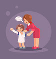 mother takes her daughter to school woman girl vector image